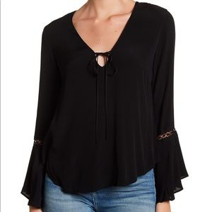 Astr the Label Black Bell Sleeved Blouse